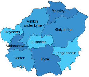 Map of Tameside