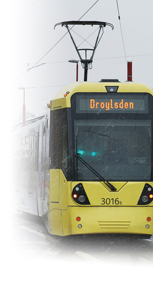 Image of a Metrolink tram travelling to Droylsden
